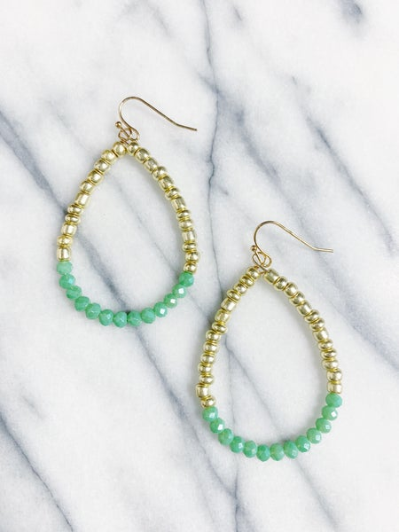 Canmore Beaded Teardrop Earrings - Mint