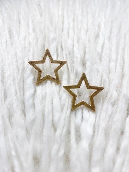 Open Star Studs - Gold