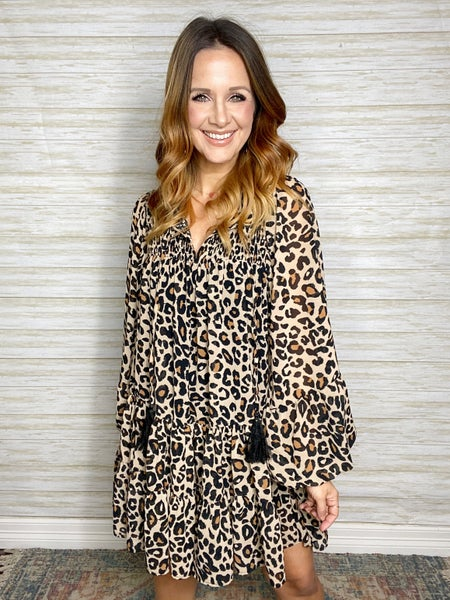 FINAL SALE - Amina Leopard Print Babydoll Dress