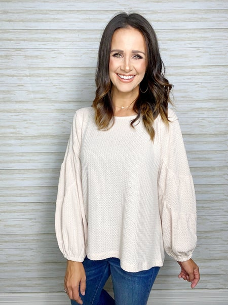 Zoey Tiered Waffle Knit Top - Oatmeal