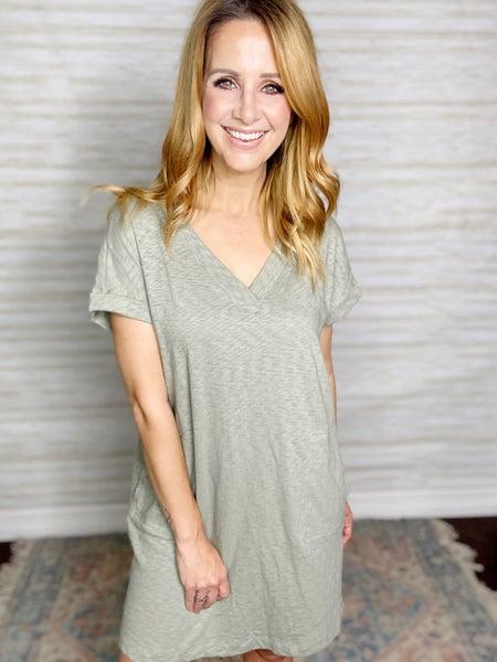 Danica Slub Knit Dress - Sage