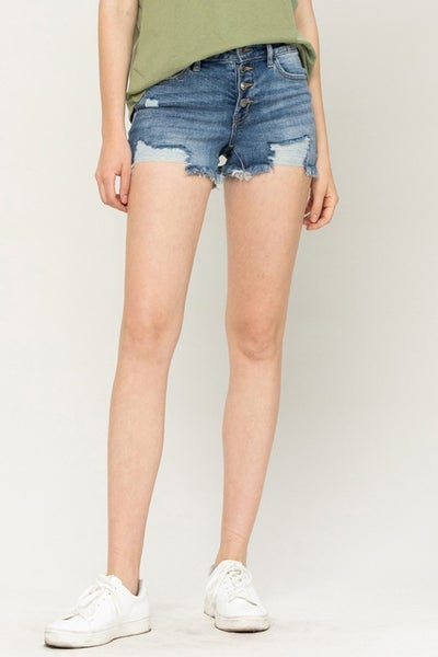 Holly Exposed Button Distressed Shorts