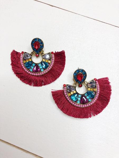 Gem Fringe Drop Earrings