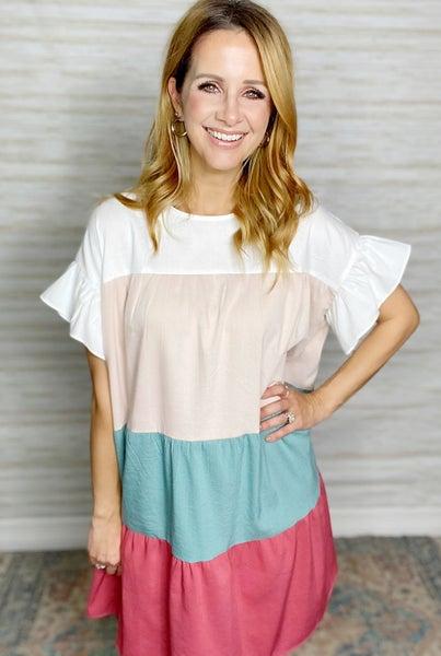 Kenzie Tiered Color Block Dress