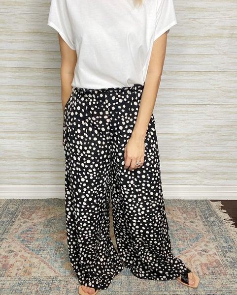Emmaline Dalmatian Print Wide Leg Pants