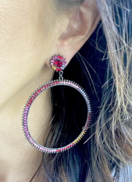 Black + Color Crystal Hoops