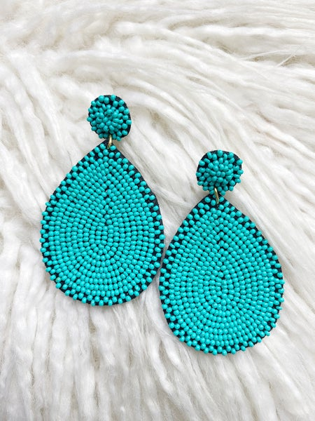 Richmond Teardrop Beaded Earrings - Turquoise