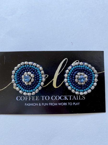 Silver + Blue Round Earrings