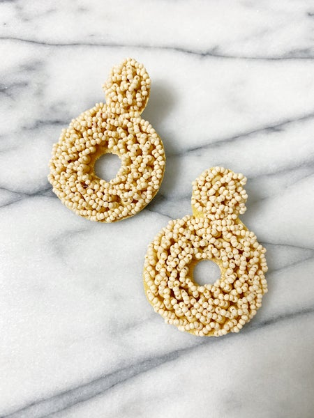 Crested Butte Beaded Earrings - Oatmeal