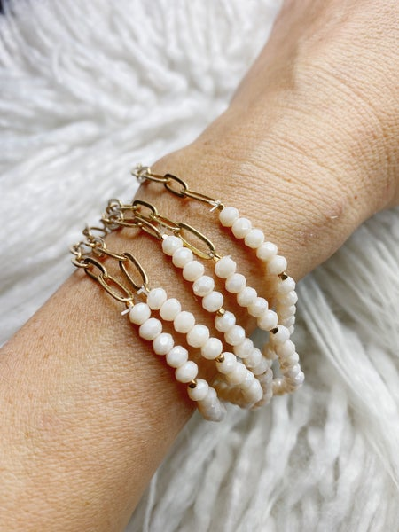 Claremont 5 Bracelet Stretch Stack - White