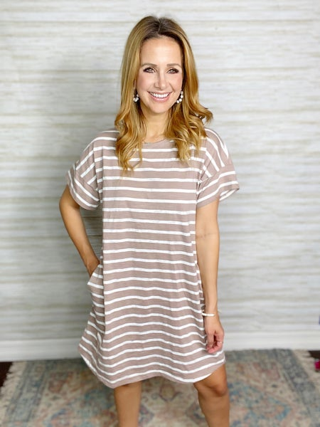 Elodie Mocha + White Stripe Tee Dress