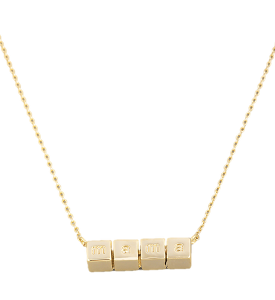 Mama Block Necklace - Gold