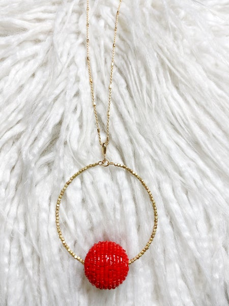 Lennon Beaded Pendant Necklace - Red
