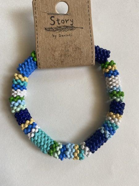 Multi Color Textured Bead Stretch Bracelet
