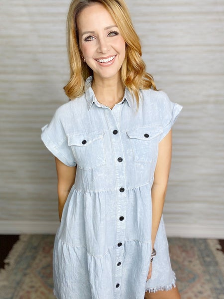 Evelyn Chambray Button Down Dress