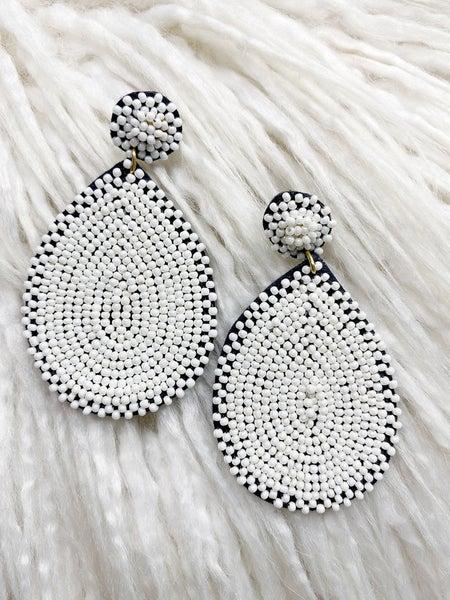 Richmond Teardrop Beaded Earrings - White