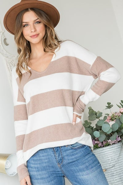 FINAL SALE - Missy Taupe+White Tunic