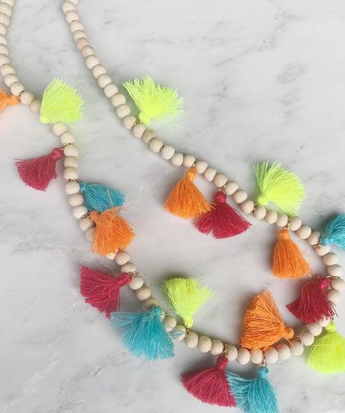 Wood Bead Neon Tassel Necklace