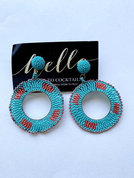 Orange + Turquoise Beaded Hoops