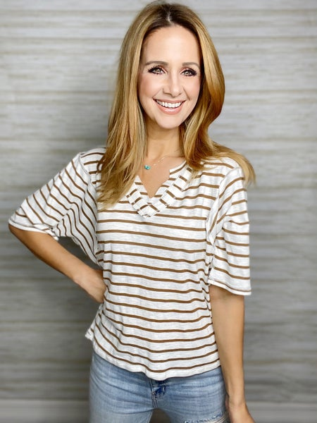 Heidi Striped Vneck Top