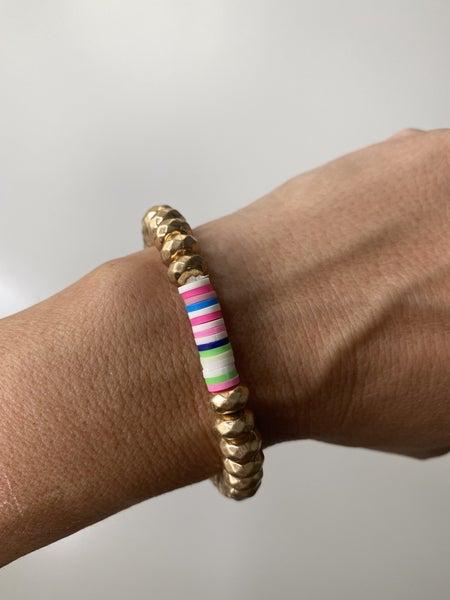 Gold Stretch Bracelet with Vinyl Disc Detail