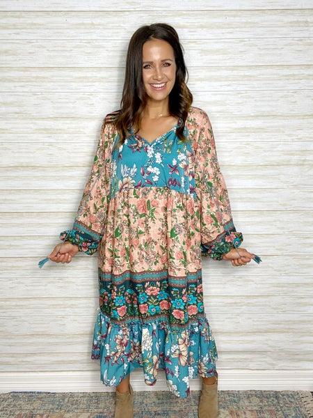 FINAL SALE - Waverly Floral Mixed Midi Dress