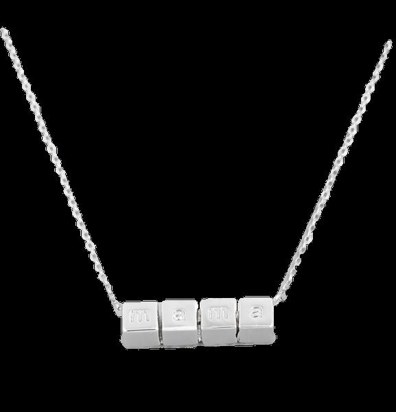 Mama Block Necklace - Silver