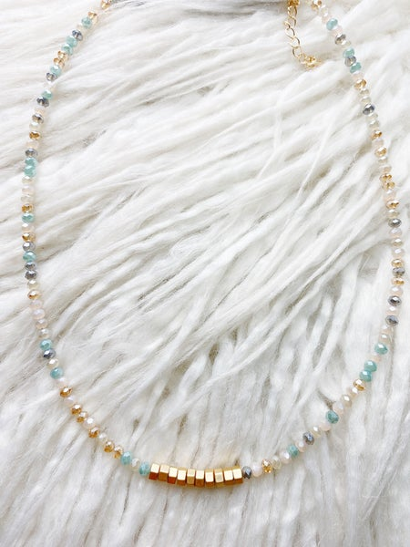 Highlands  Iridescent + Gold Cube Collar Necklace - Multi