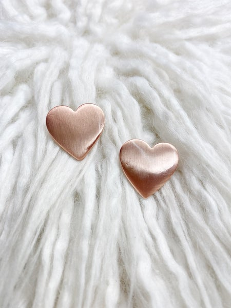 Caris Rose Gold Solid Heart Studs
