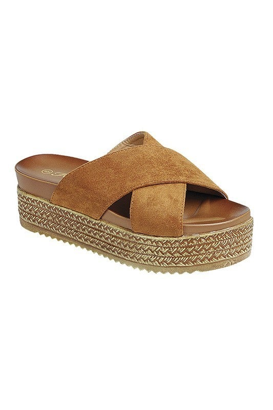 Sweetwater Open Toe Platform Sandals - Tan