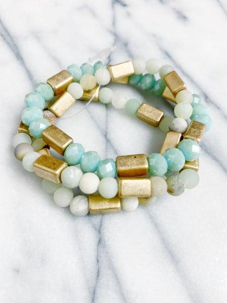 Stone Bead Multi Strand Stack - Mint