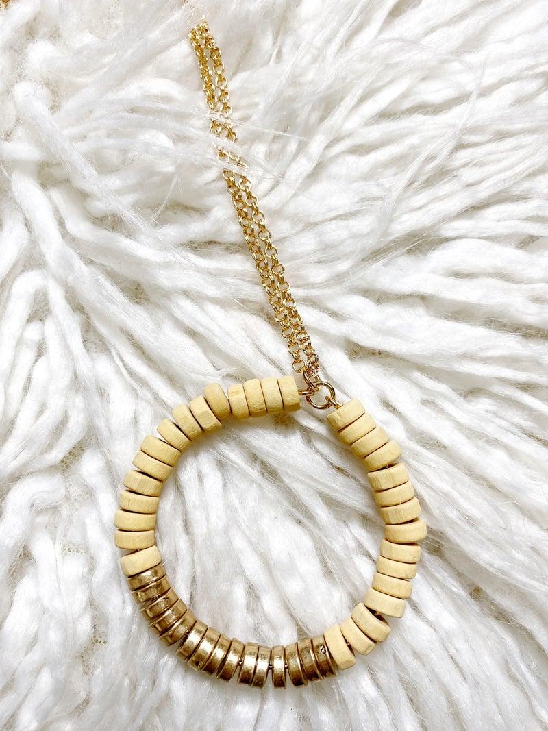Joliet Wood Bead Pendant Necklace
