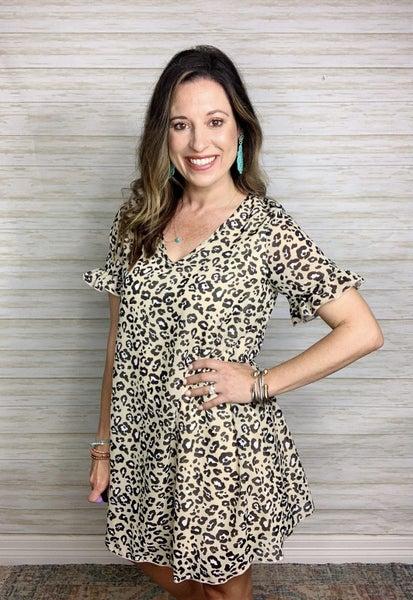 Tory Leopard Ruffle Sleeve Dress