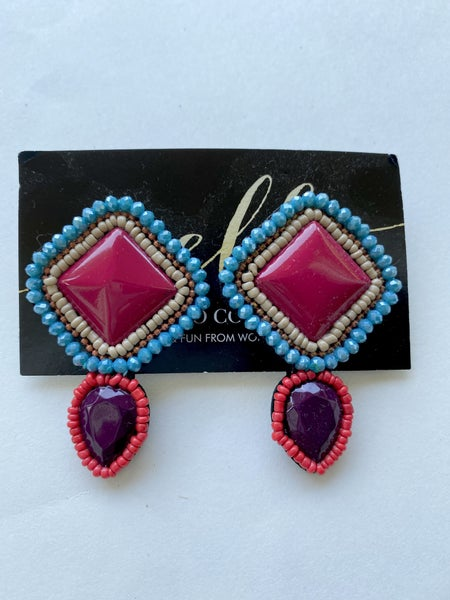 Red + Turquoise Beaded Pendant Earrings