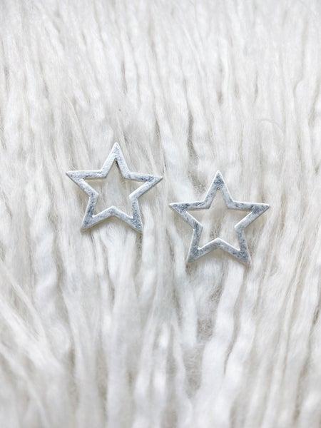 Open Star Studs - Silver
