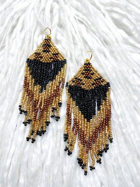 Fontana Leopard Fringe Beaded Earrings