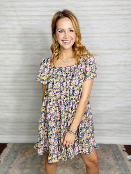 Seraphina Floral Print Babydoll Dress