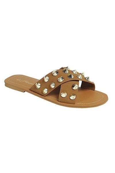 Summersville Studded Slides - Tan