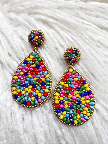Manhattan Beaded Teardrop Earrings - Multi
