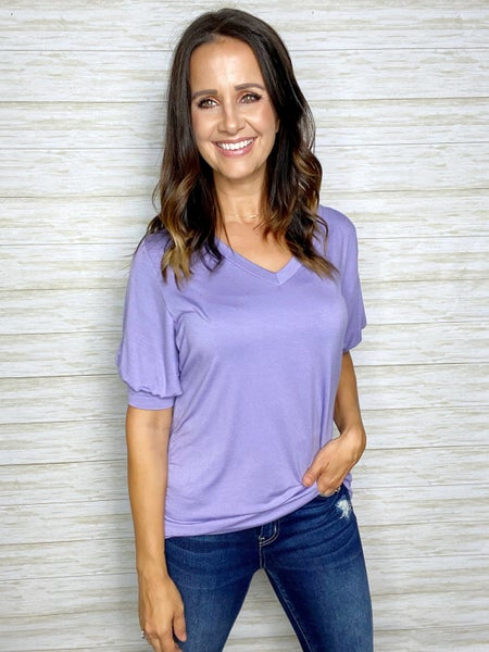 FINAL SALE - Samantha Solid Bubble Sleeve Top - Lavender
