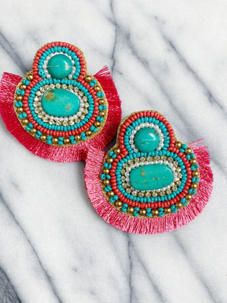 Brooksmith Beaded Fringe Earrings - Pink