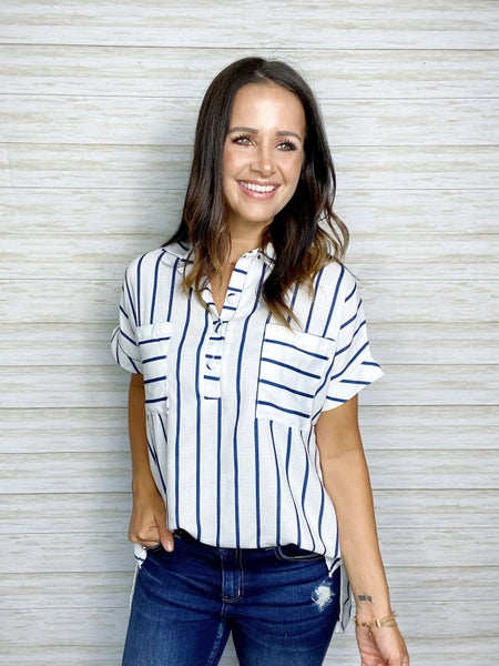 Piper Short Sleeve Collar Stripe Top