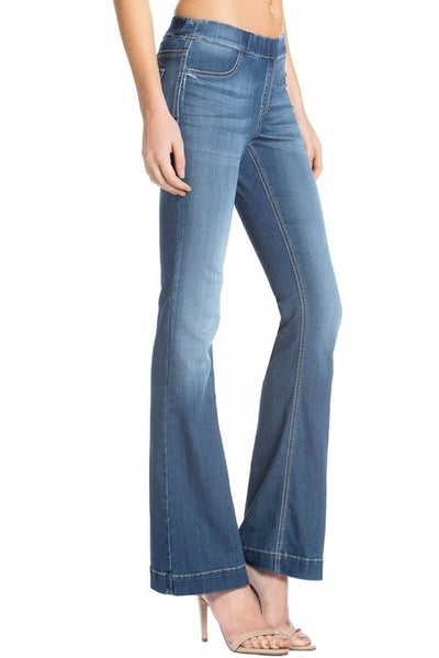 FINAL SALE - Blaine Flare Leg Pull-On Jeans - LIGHT
