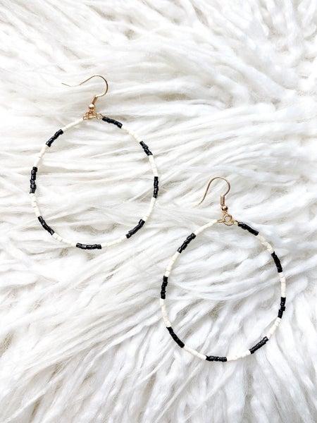 Crenshaw Black & White Beaded Hoops