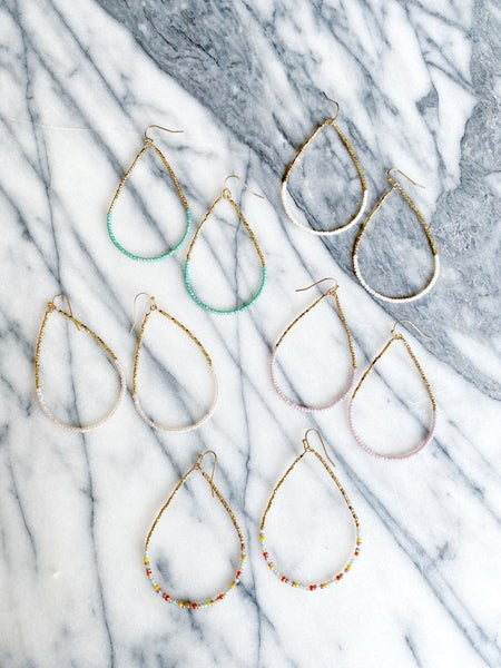 The Brazoria Beaded Teardrop Hoops