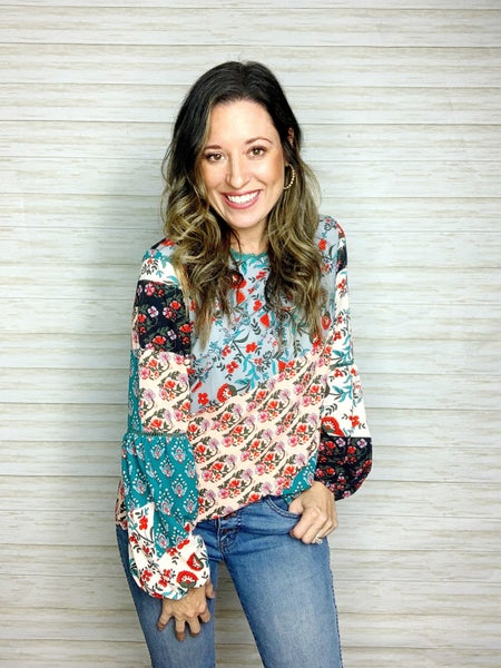 FINAL SALE - Dakota Floral Patchwork Blouse - SMALL ONLY
