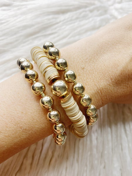 Elgin Vinyl Bead Stretch Stack - Taupe