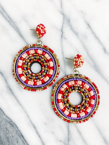 Vaughan Beaded Circle Drop Earrings  - Pink/Red
