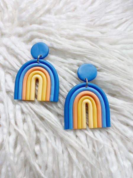 Hopewell Clay Earrings - Periwinkle Mix