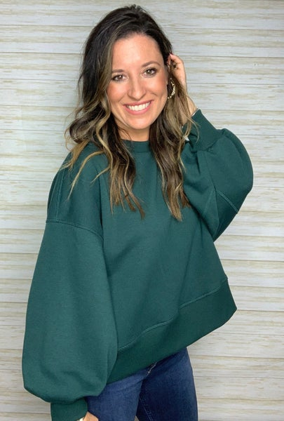 FINAL SALE - Gia Balloon Sleeve Sweatshirt - Emerald